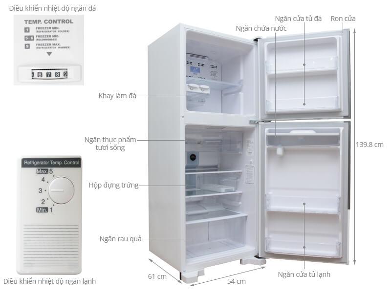 Kích thước tủ lạnh Hitachi 185 lít