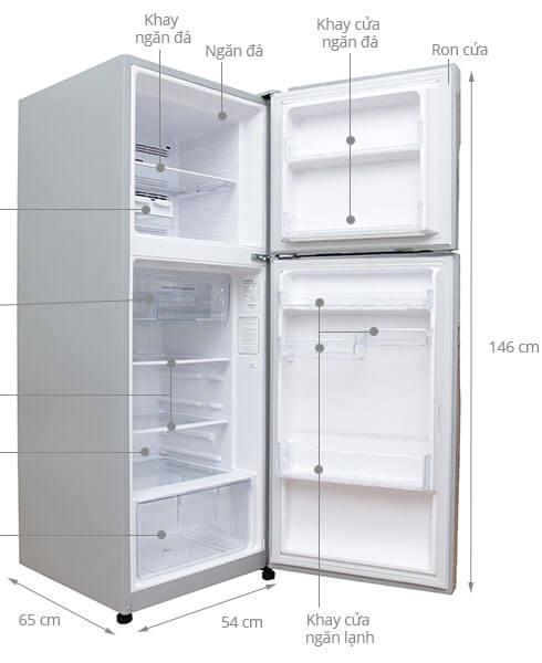 Kích thước tủ lạnh 2 cánh Hitachi 203 lít