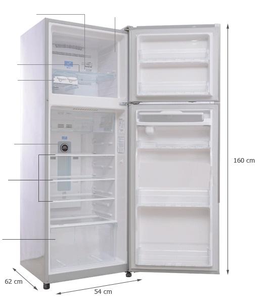 Kích thước tủ lạnh Hitachi 225 lít