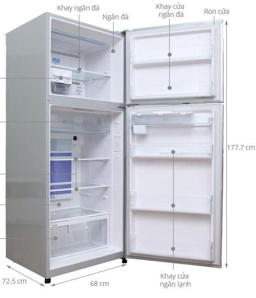 Kích thước tủ lạnh Hitachi 395 lít