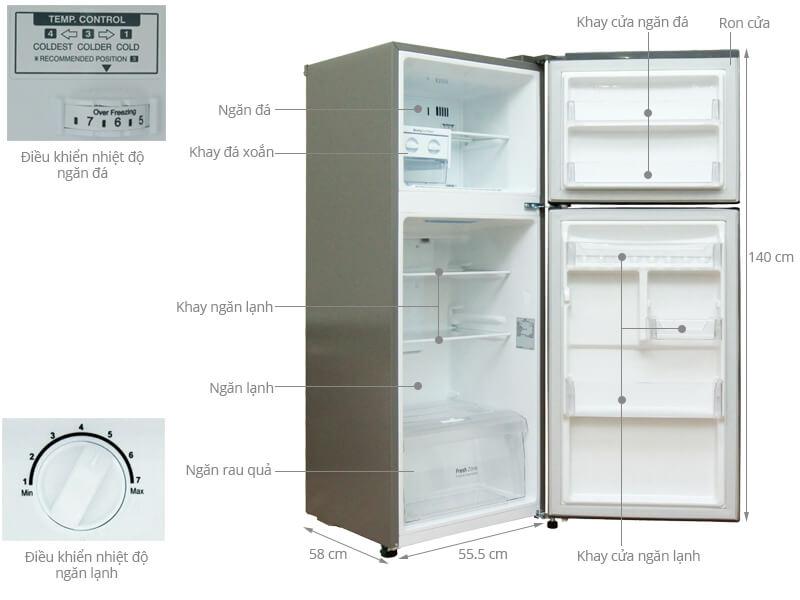Kích thước tủ lạnh 2 cánh LG 198 lít