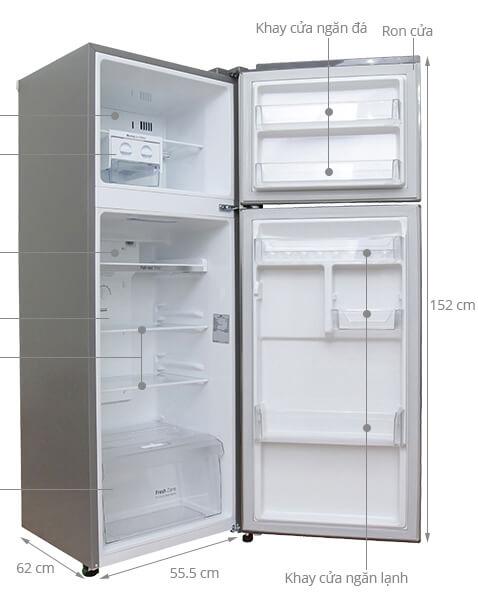 Kích thước tủ lạnh 2 cánh LG 208 lít