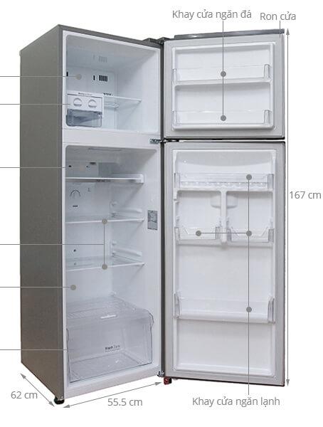 Kích thước tủ lạnh 2 cánh LG 255 lít