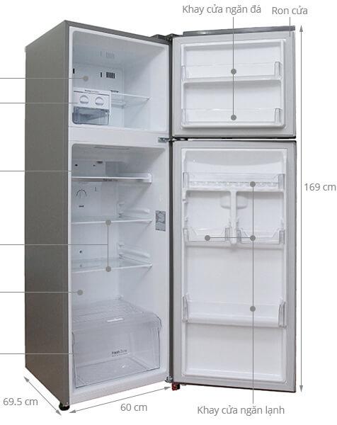 Kích thước tủ lạnh 2 cánh LG 315 lít