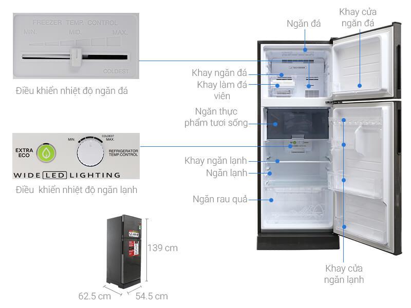 Kích thước tủ lạnh Sharp loại 196 lít