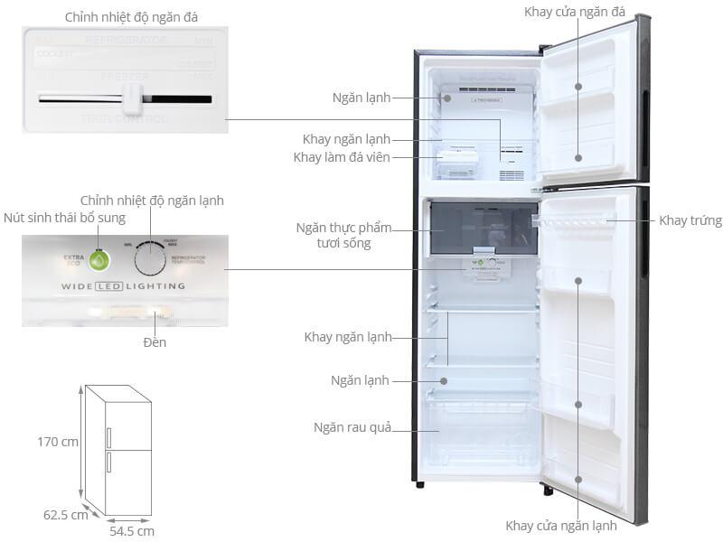 Kích thước tủ lạnh Sharp loại 271 lít