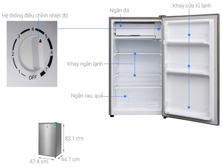 Kích thước tủ lạnh Electroux 92 lít