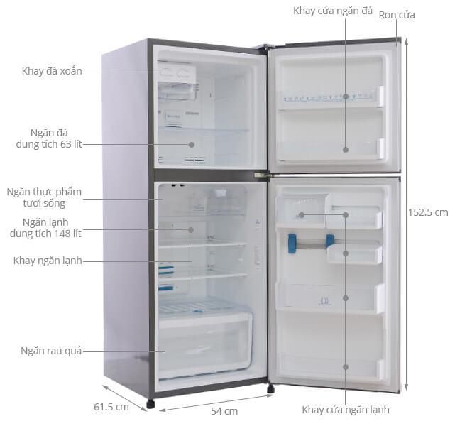 Kích thước tủ lạnh Electroux 211 lít