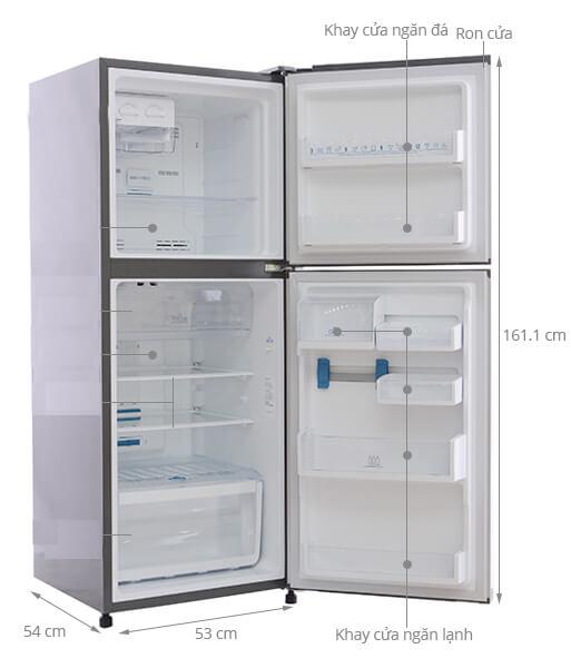 Kích thước tủ lạnh Electroux 255 lít
