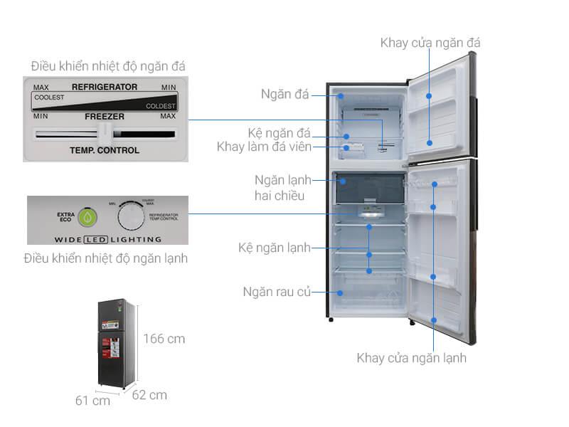 Kích thước tủ lạnh Sharp loại 314 lít