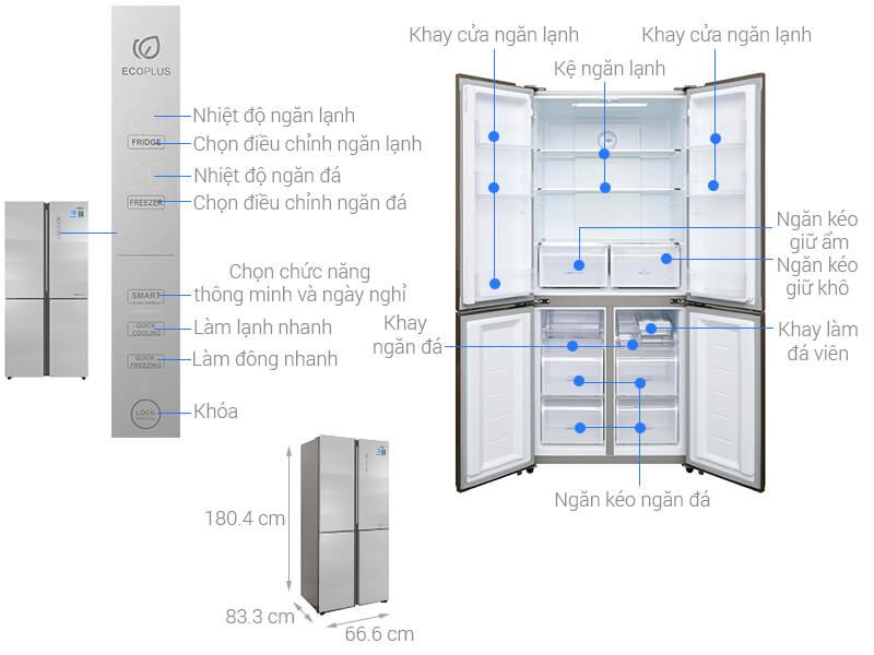 Kích thước tủ lạnh Side by Side Aqua Inverter loại 516 lít