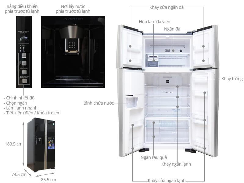 Kích thước tủ lạnh Side by Side Hitachi loại 540 lít