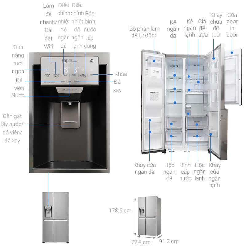 Kích thước tủ lạnh Side by Side LG loại 601 lít
