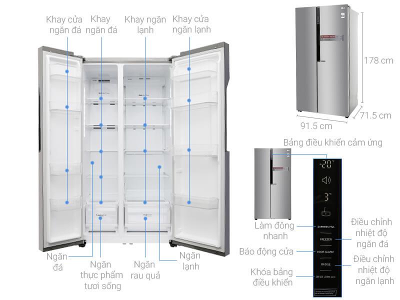 Kích thước tủ lạnh Side by Side LG inverter loại 613 lít