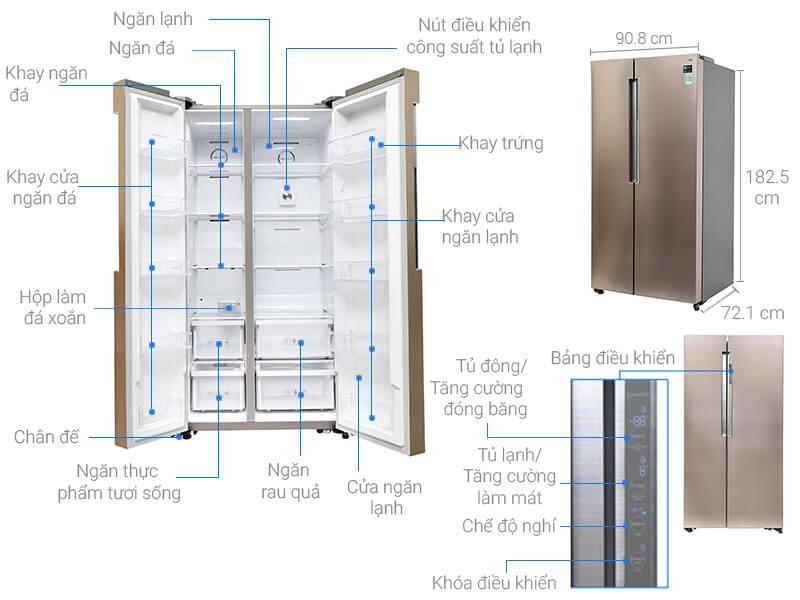 Kích thước tủ lạnh Side by Side Samsung loại 641 lít